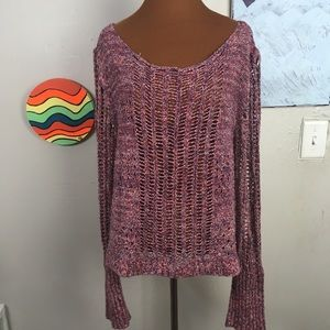 FREE PEOPLE magenta open knit sweater, slouchy